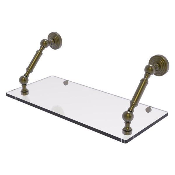 Allied Brass Waverly Place Glass 1-Tier Wall Mount Bathroom Shelf in Antique Brass