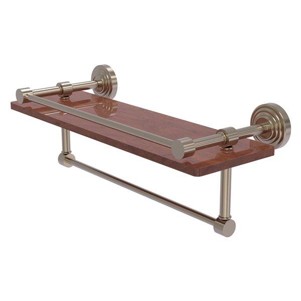 Allied Brass Waverly Place Wood 1-Tier Wall Mount Bathroom Shelf in Antique Pewter