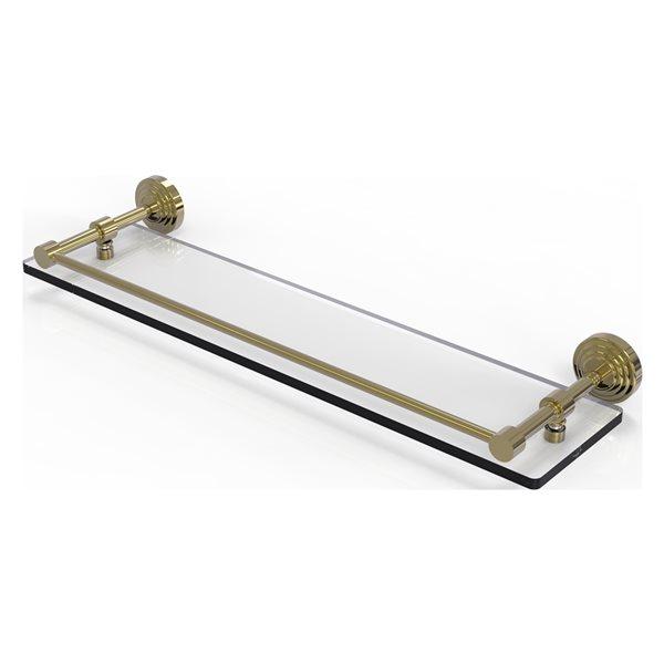 Allied Brass Waverly Place Unlacquered Brass 1-Tier Glass Wall Mount Bathroom Shelf
