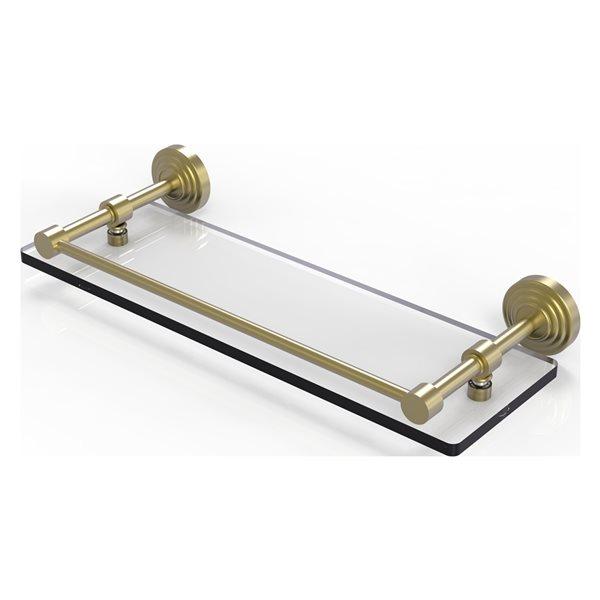 Allied Brass Waverly Place Satin Brass Glass 1-Tier Wall Mount Bathroom Shelf