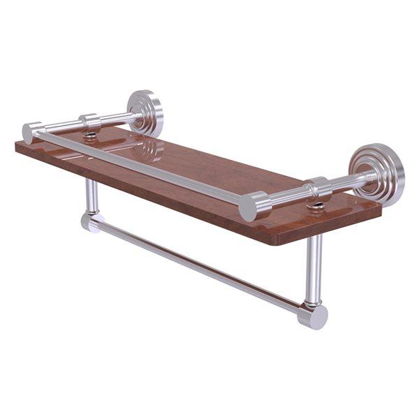 Allied Brass Waverly Place Satin Chrome Wood 1-Tier Wall Mount Bathroom Shelf