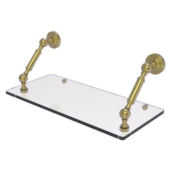 Allied Brass Waverly Place 1-Tier Glass Wall Mount Bathroom Shelf in Satin Brass