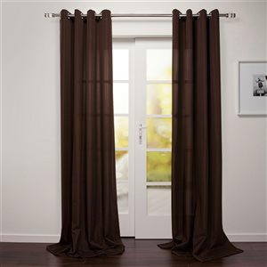Starlite Tropea 95-in Brown Polyester Light Filtering Standard Lined Single Curtain Panel