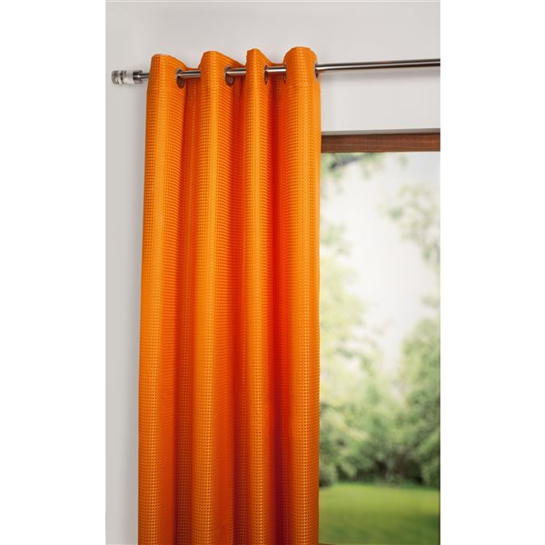 Starlite Jazz 108-in Orange Polyester Light Filtering Standard Lined Single Curtain Panel