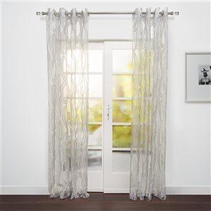 Starlite Eros 95-in Sheer Grey Polyester Light Filtering Single Curtain Panel