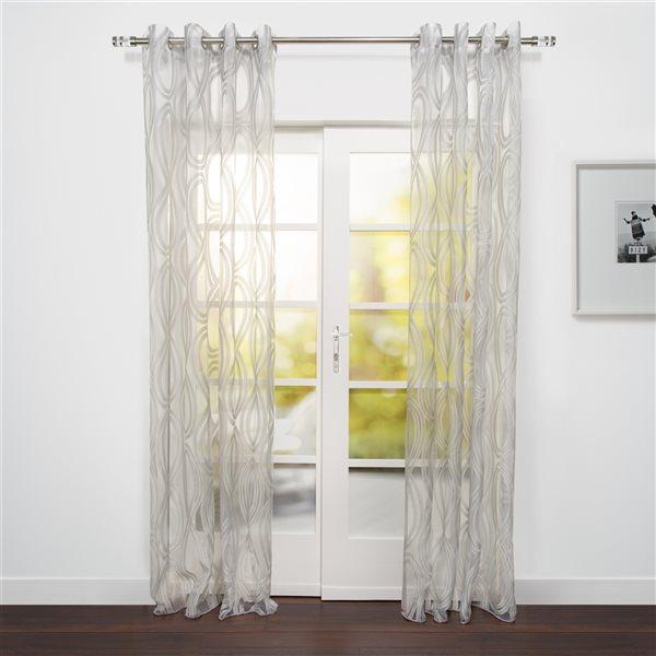 Panneau de rideau filtrant simple Eros par Starlite gris transparent de 95 po en polyester