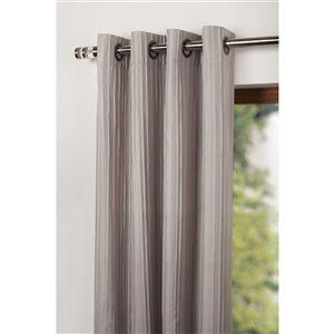 Starlite Barcelona 95-in Grey Polyester Light Filtering Single Curtain Panel