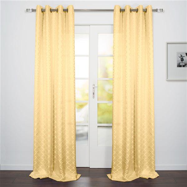 Panneau de rideau filtrant simple Como par Starlite jaune de 95 po en polyester