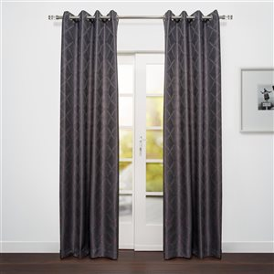 Starlite Sumatra 95-in Charcoal Grey Polyester Light Filtering Single Curtain Panel