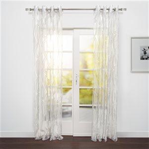 Starlite Eros 95-in Sheer White Polyester Light Filtering Single Curtain Panel