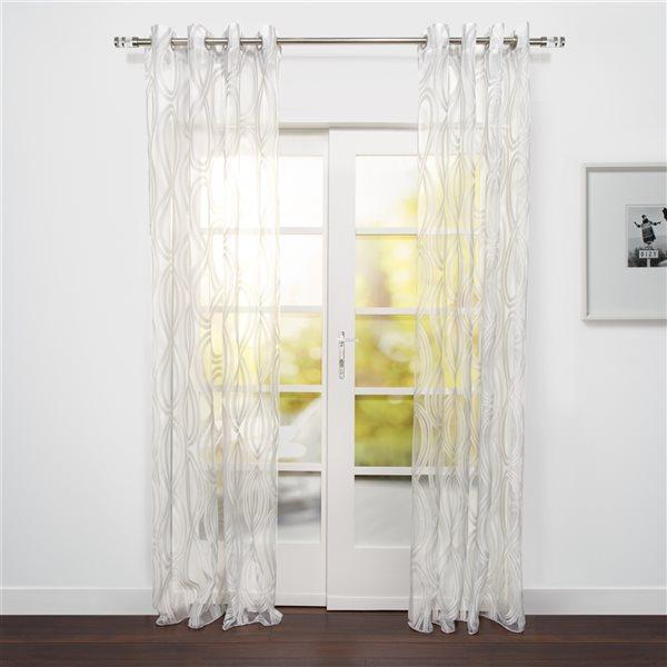 Panneau de rideau filtrant simple Eros par Starlite blanc transparent de 95 po en polyester