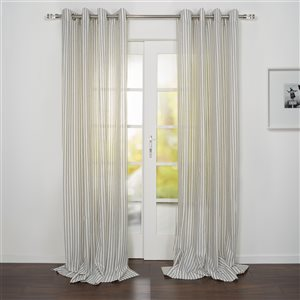 Starlite Portofino 95-in Navy and White Polyester Light Filtering Single Curtain Panel