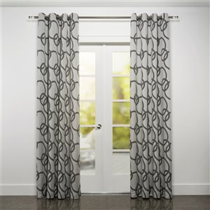 Starlite Riva 95-in Black and White Polyester Light Filtering Single Curtain Panel
