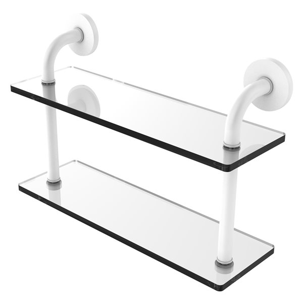 Remi Collection 16 Inch Two Tiered Glass Shelf