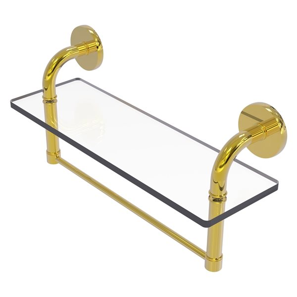 Remi Collection 16 Inch Glass Vanity Shelf with Integrated Towel Bar