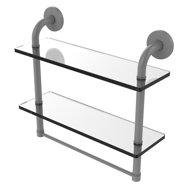 Remi Collection 16 Inch Two Tiered Glass Shelf with Integrated Towel Bar