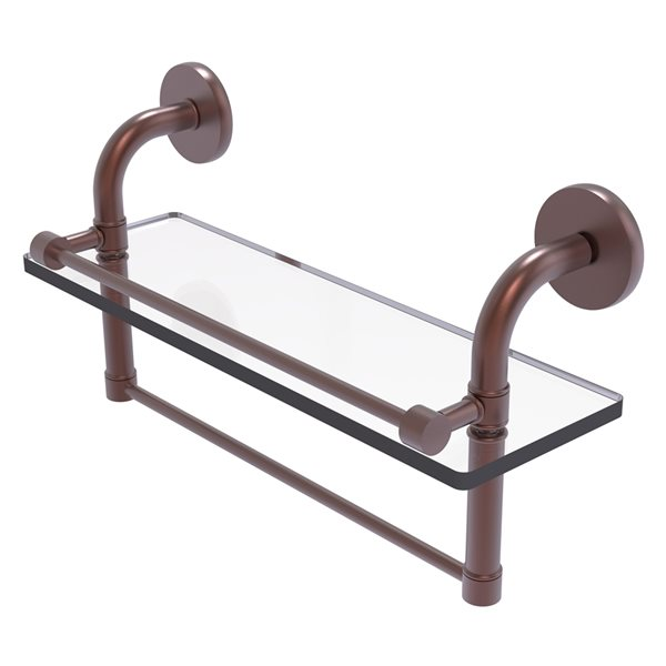 Remi Collection 16 Inch Gallery Glass Shelf with Towel Bar