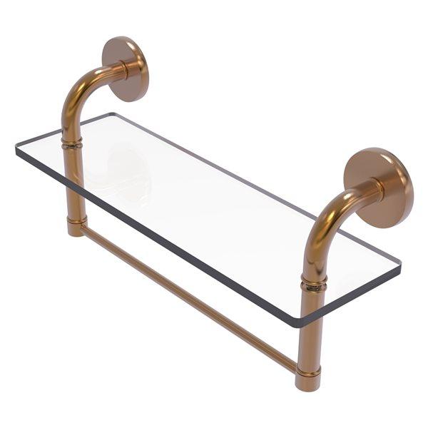 Étagère en verre Remi de meuble-lavabo avec barre à serviettes intégrée de 16 po