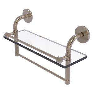 Étagère en verre Remi avec rail de galerie et barre à serviettes de 16 po