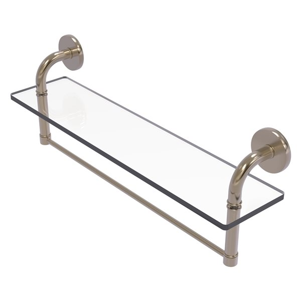 Remi Collection 22 Inch Glass Vanity Shelf with Integrated Towel Bar