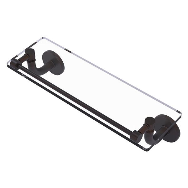 Remi Collection 16 Inch Glass Vanity Shelf with Gallery Rail
