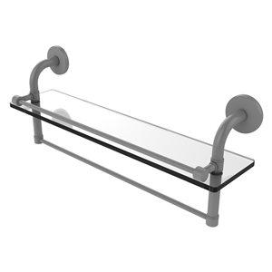 Étagère en verre Remi avec rail de galerie et barre à serviettes de 22 po