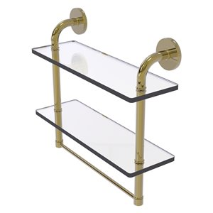 Étagère en verre Remi à deux niveaux avec barre à serviettes intégrée de 16 po