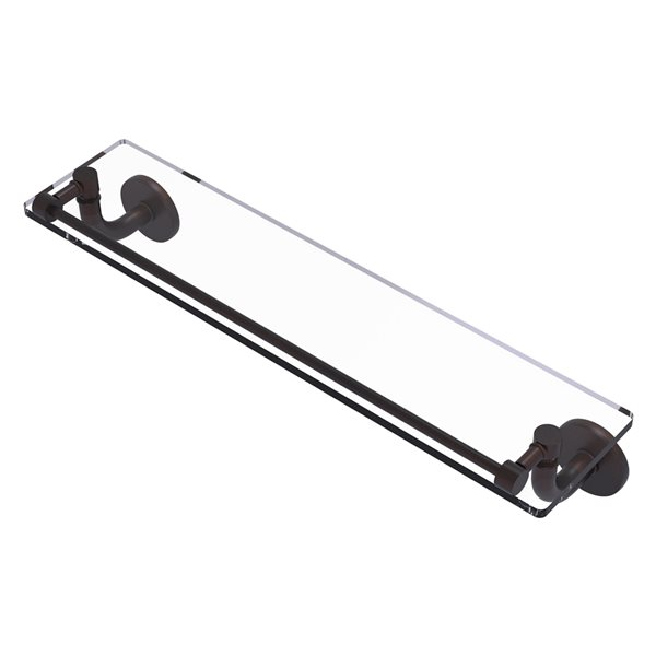 Remi Collection 22 Inch Glass Vanity Shelf with Gallery Rail