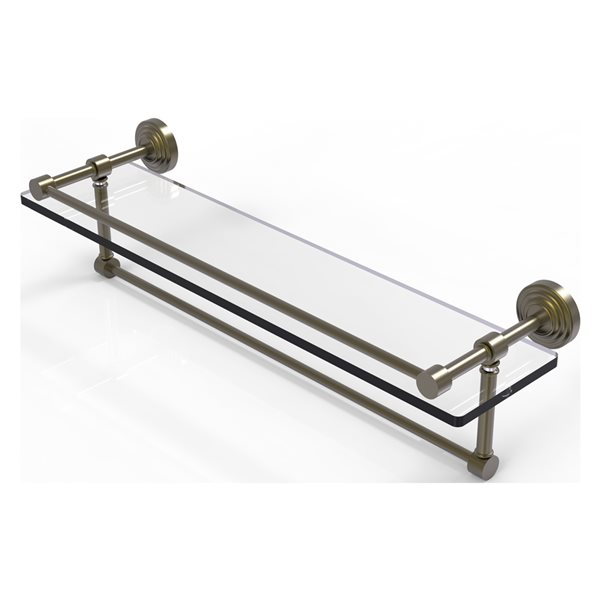 Allied Brass Waverly Place Antique Brass 22-in Gallery Glass Bathroom Shelf with Towel Bar