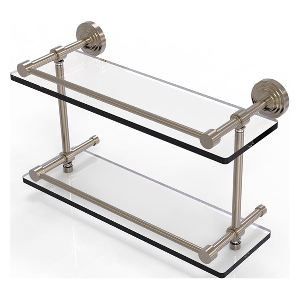 Allied Brass Waverly Place Antique Pewter 16-in Double Glass Bathroom Shelf with Gallery Rail