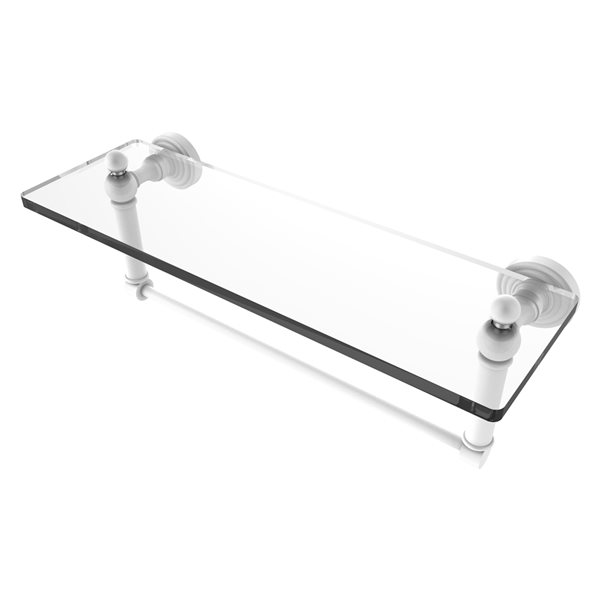 Allied Brass Waverly Place Matte White 16-in Glass Vanity Bathroom Shelf with Integrated Towel Bar