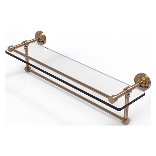 Allied Brass Waverly Place Brushed Bronze 22-in Gallery Glass Bathroom Shelf with Towel Bar