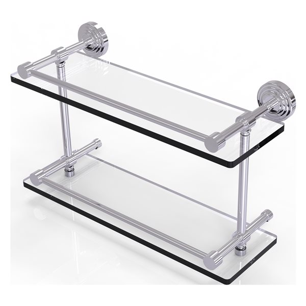 Allied Brass Waverly Place Polished Chrome 16-in Double Glass Bathroom Shelf with Gallery Rail