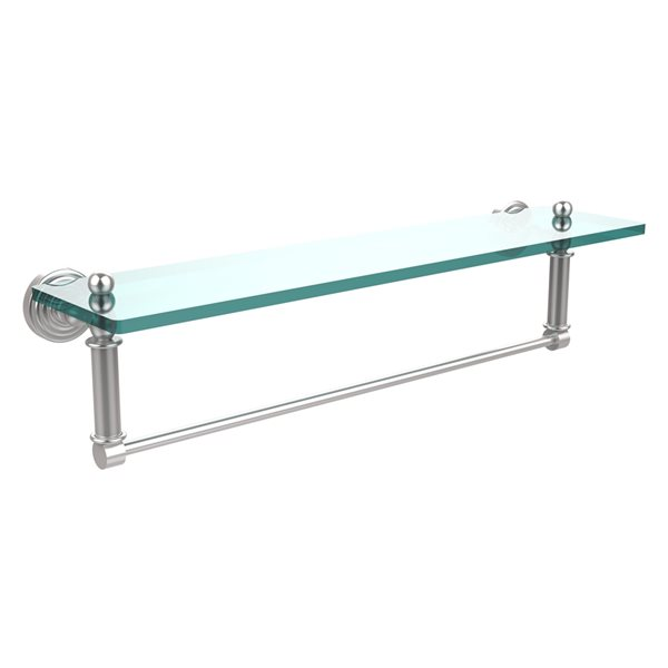 Allied Brass Waverly Place Satin Chrome 22-in Glass Vanity Bathroom Shelf with Integrated Towel Bar