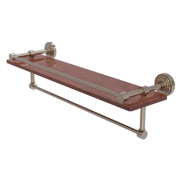 Allied Brass Waverly Place Antique Pewter 22-in IPE Ironwood Bathroom Shelf with Gallery Rail and Towel Bar