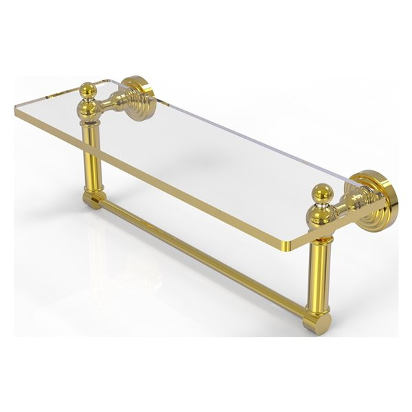 Allied Brass Waverly Place Polished Brass 16-in Glass Vanity Bathroom Shelf with Integrated Towel Bar