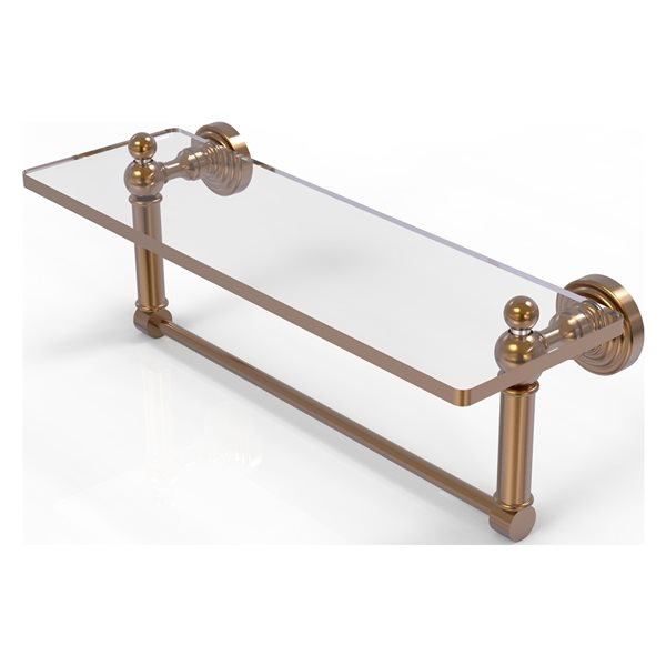 Allied Brass Waverly Place Brushed Bronze 16-in Glass Vanity Bathroom Shelf with Integrated Towel Bar