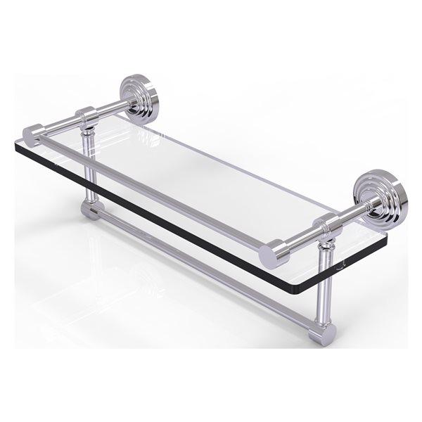 Allied Brass Waverly Place Polished Chrome 16-in Gallery Glass Bathroom Shelf with Towel Bar