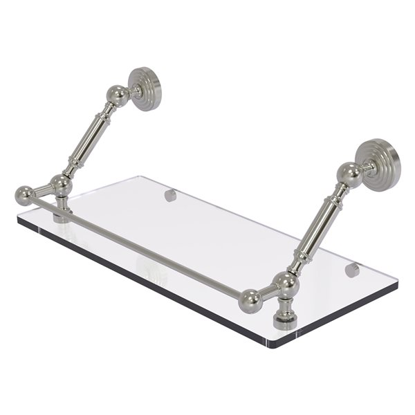 Allied Brass Waverly Place Satin Nickel 18-in Floating Glass Bathroom Shelf with Gallery Rail