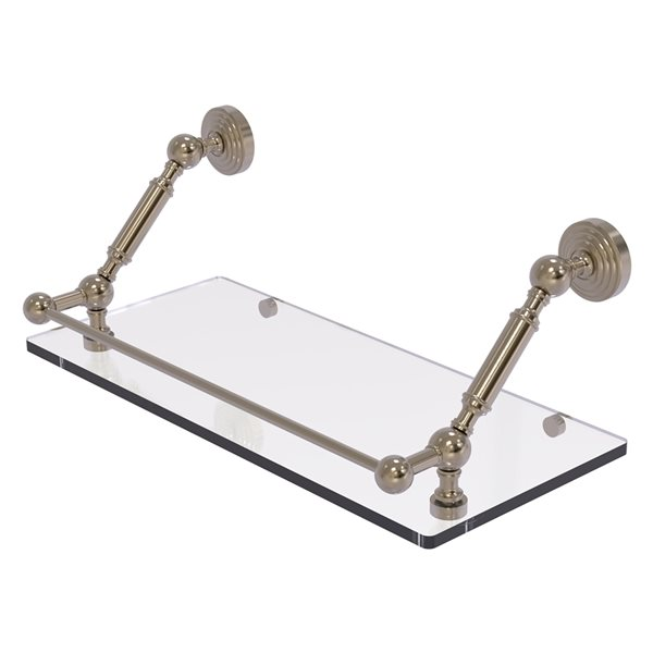 Allied Brass Waverly Place Antique Pewter 18-in Floating Glass Bathroom Shelf with Gallery Rail
