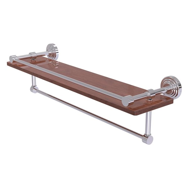Allied Brass Waverly Place Polished Chrome 22-in IPE Ironwood Bathroom Shelf with Gallery Rail and Towel Bar