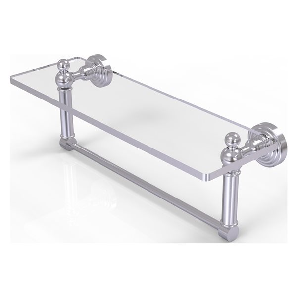 Allied Brass Waverly Place Satin Chrome 16-in Glass Vanity Bathroom Shelf with Integrated Towel Bar