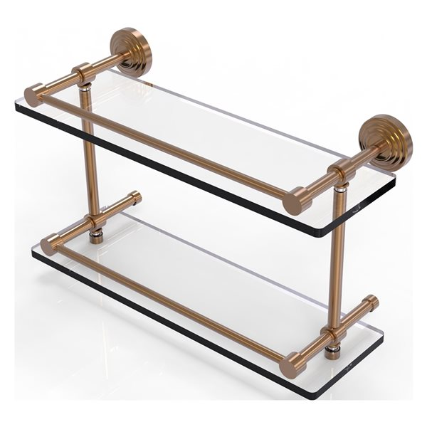 Allied Brass Waverly Place Brushed Bronze 16-in Double Glass Bathroom Shelf with Gallery Rail