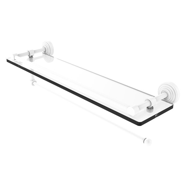 Allied Brass Waverly Place Matte White 22-in Gallery Glass Shelf with Paper Towel Holder