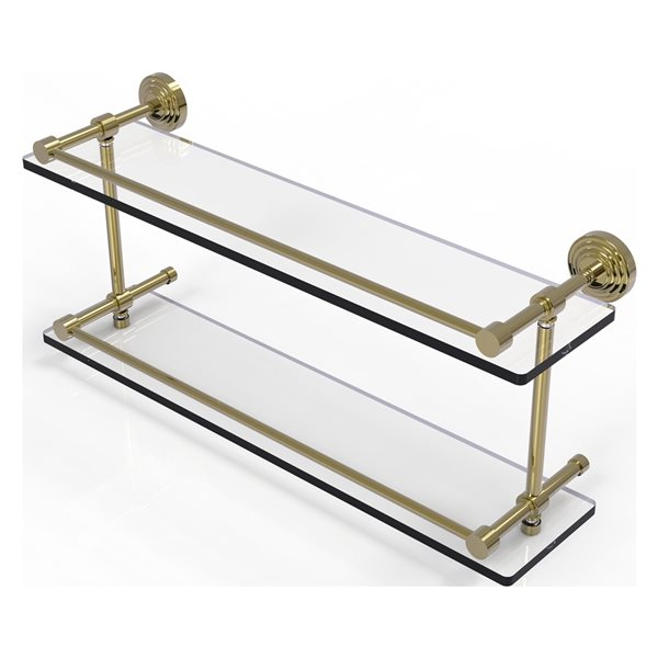 Allied Brass Waverly Place Unlacquered Brass 22-in Double Glass Bathroom Shelf with Gallery Rail