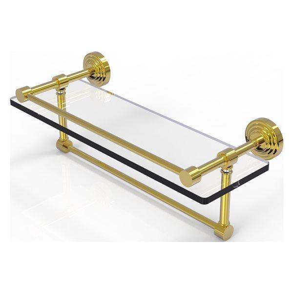 Allied Brass Waverly Place Polished Brass 16-in Gallery Glass Bathroom Shelf with Towel Bar