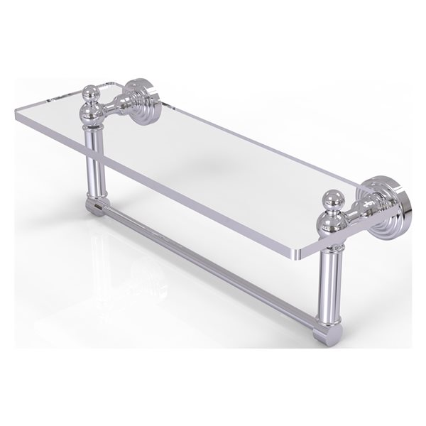 Allied Brass Waverly Place Polished Chrome 16-in Glass Vanity Bathroom Shelf with Integrated Towel Bar