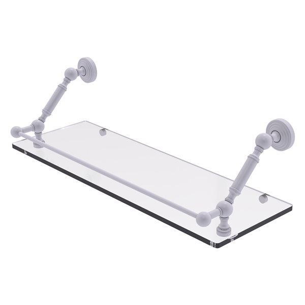 Allied Brass Waverly Place Matte White 24-in Floating Glass Bathroom Shelf with Gallery Rail