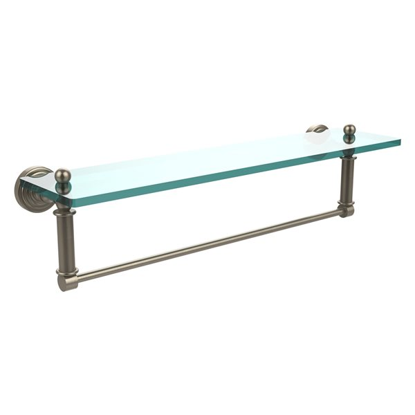 Allied Brass Waverly Place Antique Pewter 22-in Glass Vanity Bathroom Shelf with Integrated Towel Bar