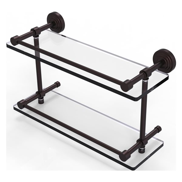 Allied Brass Waverly Place Antique Bronze 16-in Double Glass Bathroom Shelf with Gallery Rail